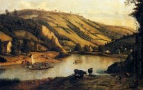 An Extensive River landscape, Probably Derbyshire, With Drovers