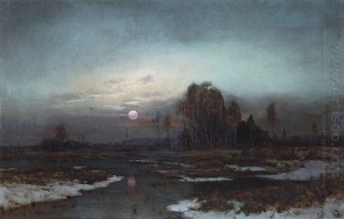 autumn landscape with a swampy river in the moonlight 1871