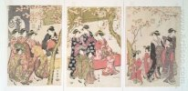 Courtesans Strolling Beneath Cherry Trees Before The Daiko