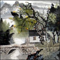 Building, Trees, River- Chinese Painting