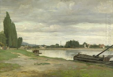 River Landscape With Barge Moored