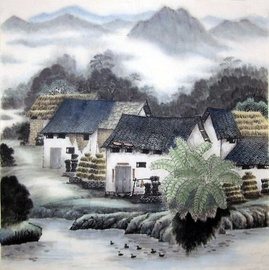 Chinese Painting A Small Village Chinese Painting