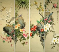 Birds&Flowers-FourInOnee - Chinese Painting