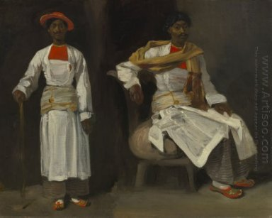 Two Views Of An Indian From Calcutta Seated And Standing 1824