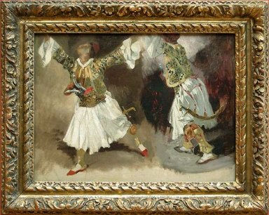 Two Greek Warriors Dancing Study Costumes Souliotes 1825