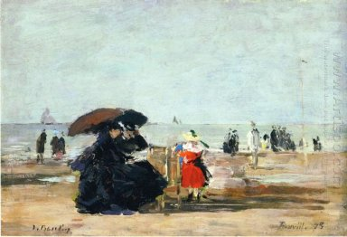 Trouville Beach Scene 1875
