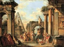 A capriccio of classical ruins with Diogenes throwing away his c