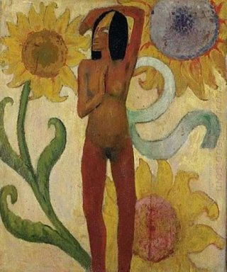 caribbean woman or female nude with sunflowers 1889
