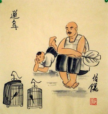 Old Beijingers, play birds - Chinese painting
