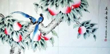 Magpies - Peach - Chinese Painting