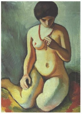 female nude with corall necklace