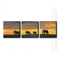 Hand-painted Oil Painting Animal Oversized Landscape - Set of 3