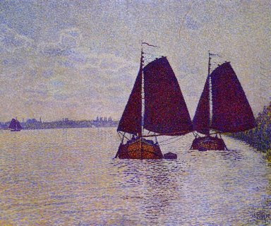 Barges On The River Scheldt 1892