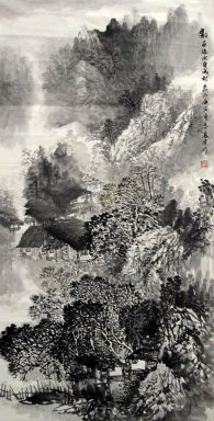 Mountains, river, farmhouse - Chinese Painting