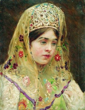 Portrait Of The Girl In A Russian Dress 1