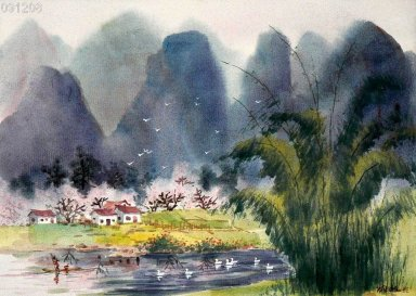 Mountains, farmhouse, watercolor - Chinese Painting