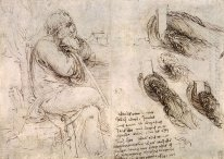 A Seated Man And Studies And Notes On The Movement Of Water