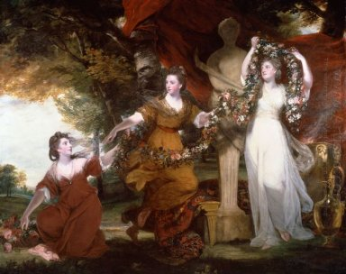 Three Ladies Adorning A Term Of Hymen 1773
