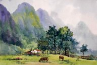 Mountains, trees, watercolor - Chinese Painting