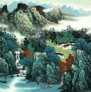A Village in the Mountain - Chinese Painting