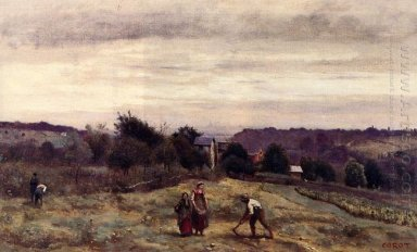 Ville D Avray The Heights Peasants Working In A Field