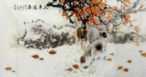 Sheep-Maple Leaf - Chinese Painting