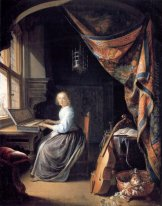 A Lady Playing the Clavichord