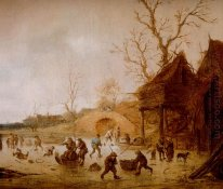 A Winter Landscape with Skaters, Children Playing Kolf and Figur