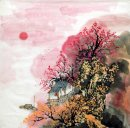 Trees, Building - Chinese Painting