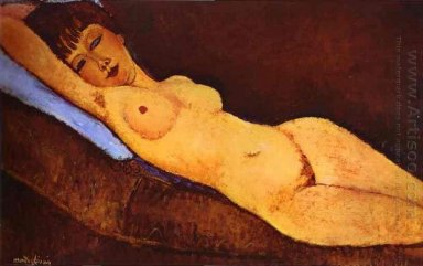 reclining nude with blue cushion 1917