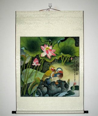 Lotus, Birds - Mounted - Chinese Painting