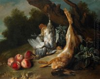 Still Life with Dead Game and Peaches in a Landscape