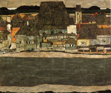 houses by the river the old city 1914