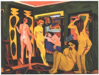 Bathing Women In A Room 1908