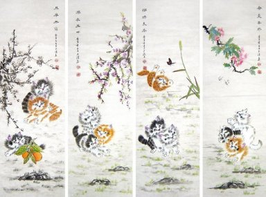 Cat (Four Screens) - Chinese Painting