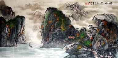Boot in de canyon-Xiagu - Chinees schilderij