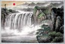 Waterfall and Sun - Taiyang - Chinese Painting