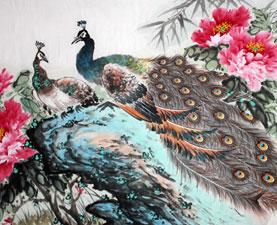 Pintura de pájaros y flores
