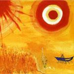 Sur un champ de blé après-midi d'été