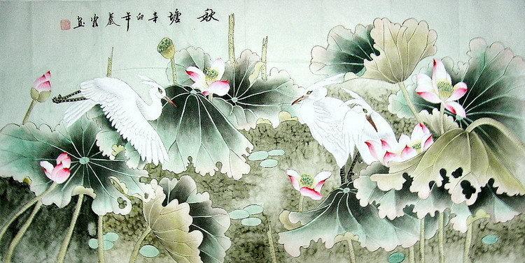 Chinese Painting Crane Lotus Chinese Painting