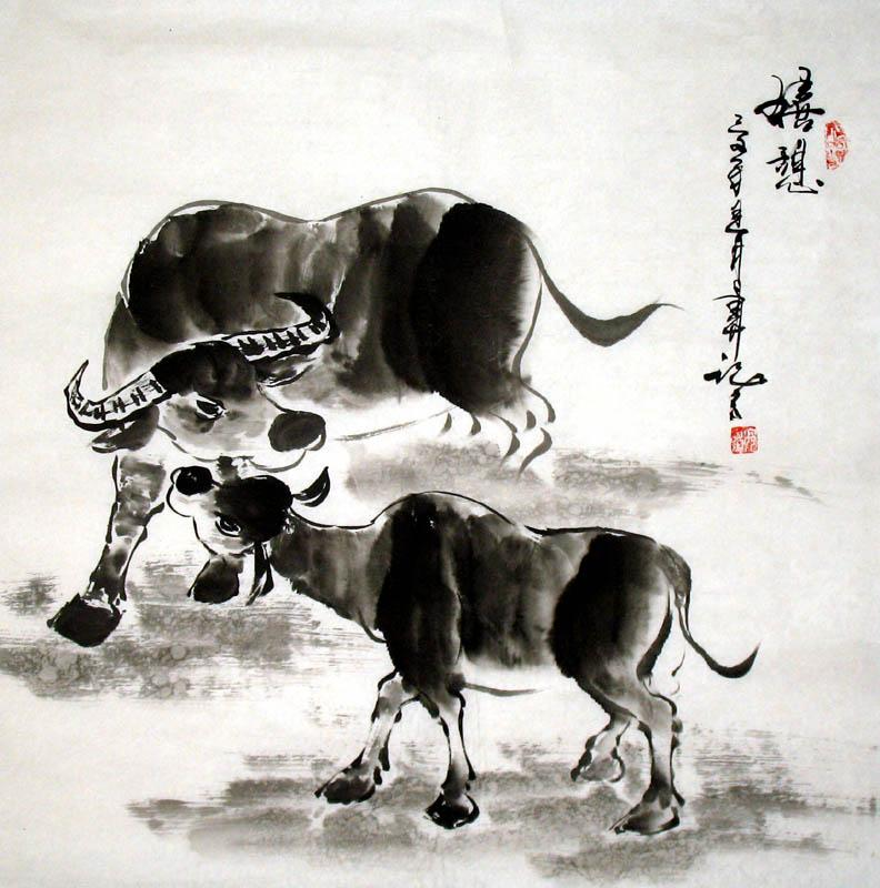 Cow-Open play - Chinese Painting