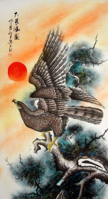 Lukisan Cina Elang Semi Manual Lukisan Cina Cnag250493
