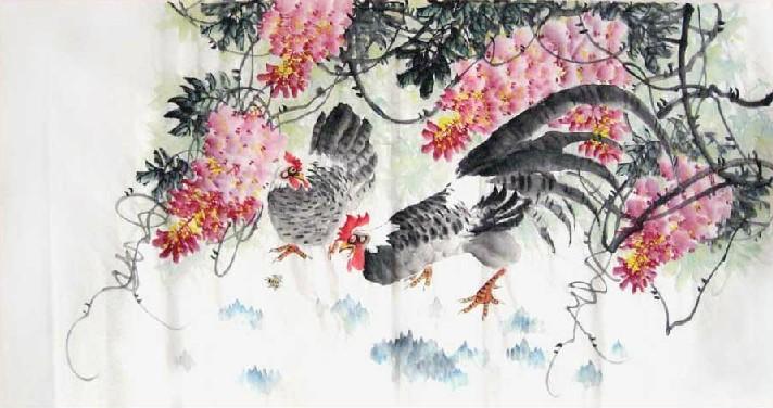 Chicken-Peony - Chinese Painting
