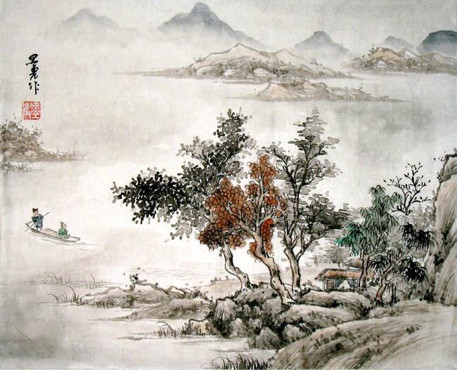 Chinese Painting Boat And House Chuan Chinese Painting Cnag220322 Artisoo Com