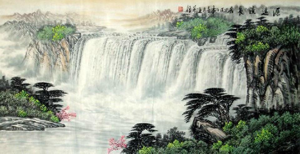 Chinese Waterfall painting