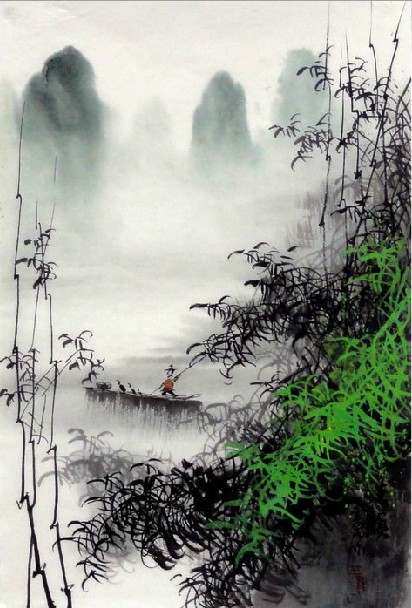 Chinese Painting One Boat On The River Chinese Painting