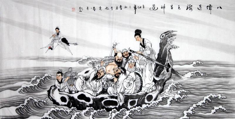 Eight Immortals Ba Xian Guo Hai- Chinese Painting