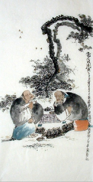Chinese old man painting