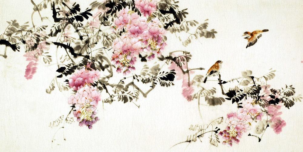 Resultado de imagem para flores pintura chinesa