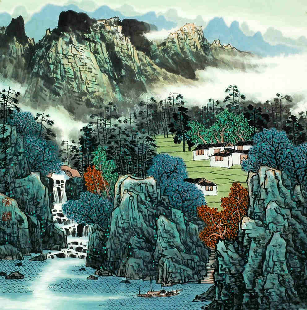 Chinese Village Painting